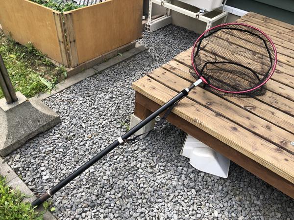 投げ竿を改造してタモ網(ランディングネット)を作る000