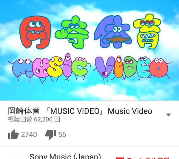 岡崎体育 「MUSIC VIDEO」視聴数2016/04/21 6:30