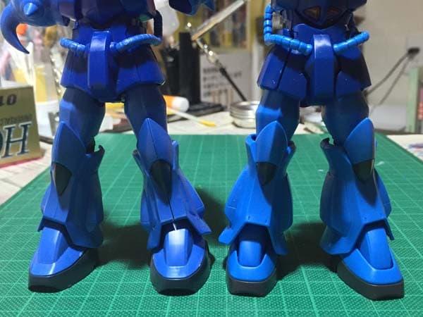 HGUC REVIVE グフ パチ組レビュー125 脚部 旧HGUCと比較 脚全体