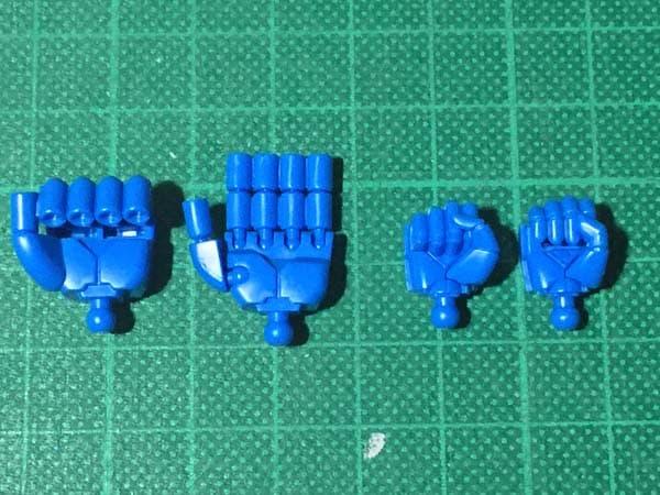 HGUC REVIVE グフ パチ組レビュー217 腕部 左右手比較