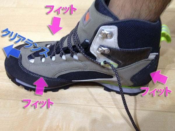 つま先がぶつかるとすぐに痛くなるので、かかとを靴の内側に合わせたときにつま先に若干の余裕が必要です。目安としては、つま先を靴に合わせたときにかかと側で指一本
